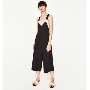 Zara Wide Leg Jumpsuit with tie back Black S